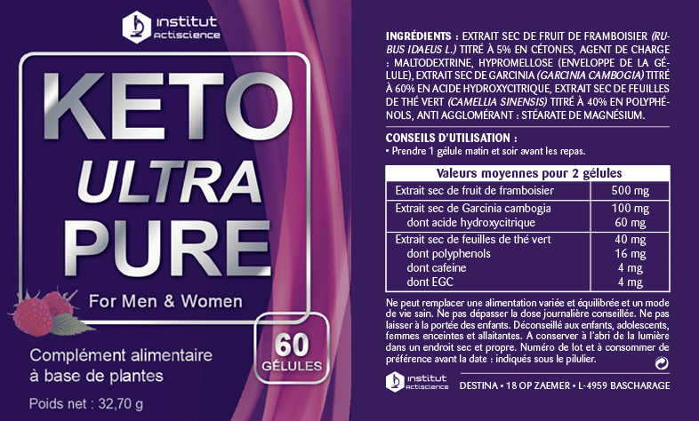 Keto Ultra Pure étiquette nutritionnelle